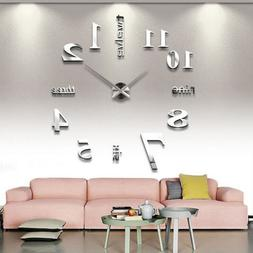 Modern DIY Analog 3D Mirror Surface Large Number Wall Clock