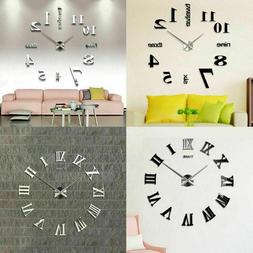 Modern DIY Large Wall Clock Kit 3D Mirror Surface Sticker Ho