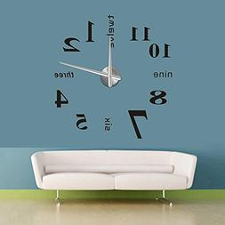 Modern DIY Large Wall Clock 3D Mirror Surface Sticker Home O