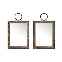Modern Farmhouse Hanging Wall Mirror Set Of 2 Made Of Metal/