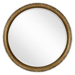 Majestic Mirror Modern Round Gold Leaf Crackle Beveled Home
