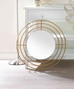 modern round wall mirror with gold iron