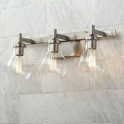 "Modern Wall Light Brushed Nickel 21"" 3-Light Fixture for Bat"