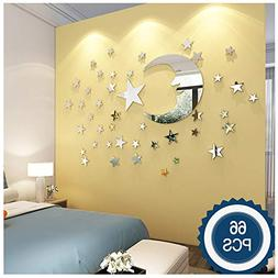 ATFUNSHOP Moon and Stars Wall Stickers - 30cm Largest Moon w
