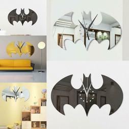 New Modern Home Room Art 3D DIY Batman Clock Shape Mirror De