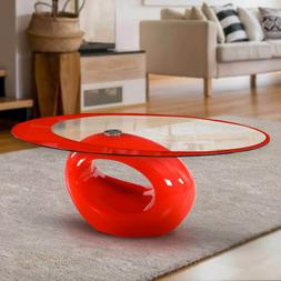 New Fab Glass and Mirror Stylish Oval Shape Coffee Table Fre