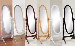 New Swivel Full Length Wood Cheval Floor Mirror White/Oak/Ch