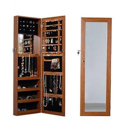 Oak Mirrored Jewelry Armoire Cabinet with Lock Wall Door Mou