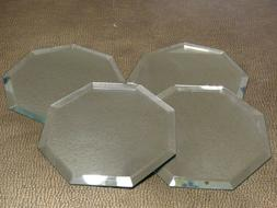 "Octagon Craft Mirrors W/Bevel Edge 5.5"" wide Lot of 4 Glass"