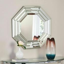 Ornora Glam Octagonal Reflective Hanging Beveled Wall Mirror