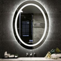 Oval LED Light Wall Frameless Mirror Vanity Makeup Mirror An