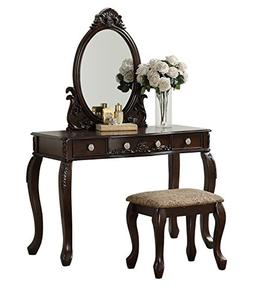 BOBKONA F4164 PDEX-F4164 Oval Shape Mirror Vanity Table with