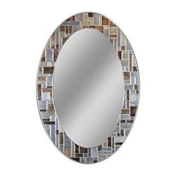 "Oval Wall Mirror 31"" x 21"" Earth Tones Mosaic Tile Hanging B"
