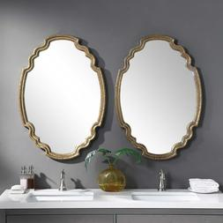 Oval Wall Mirror Gold Leaf 35H Curved Shaped Wood Large Shie