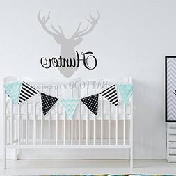 BATTOO Personalized Deer Antlers Name Wall Decal Hunting The