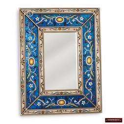 Peruvian Arts Crafts Mirror for wall - Handpainted Glass Woo