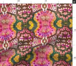 Pink Abstract Mirrored Geometric Butterfly Fabric Printed by
