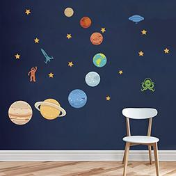 DecalMile Planets in The Space Wall Decals Solar System Kids