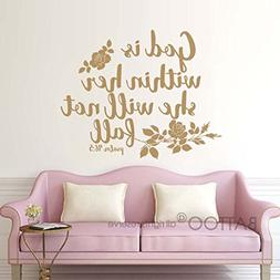 BATTOO Psalm 46:5 Bible Wall Decal Quote - God is within her