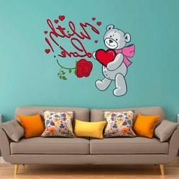 Pvc Vinyl Teddy Bear With Love Design Wall Sticker 27 X 24 I
