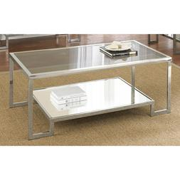 Rectangle Glam, Mirrored Chrome and Tempered Glass Coffee Ta