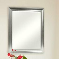 Rectangular Beveled Vanity Mirror with Satin Silver Finish F