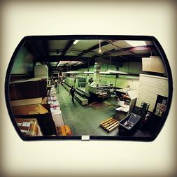 Rectangular Convex Mirror With Two Rounded Sides Reflects Sa