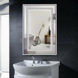 rectangular wall mounted crystal wooden frame vanity