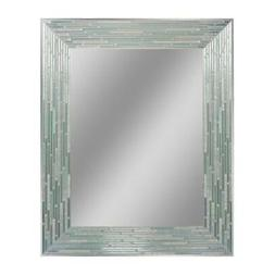 Reeded Aged Sea Glass Wall Mirror 30 in. x 24 in. Handcrafte