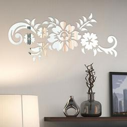 Removable 3D Mirror Flower Art Wall Stickers Acrylic Mural D