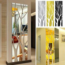 Removable Modern Mirror Tree Decal Art Mural Wall Stickers H