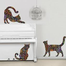 My Wonderful Walls Repositionable Cat Wall Decals in Flower