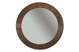 Riveted34 H x 34 W Hand Hammered Round Copper Mirror, Wall,
