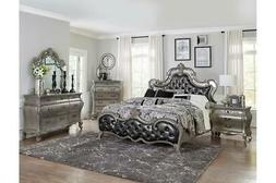 ROMANTIC FRENCH PROVINCIAL STYLE SILVER GRAY MIRROR KING BED