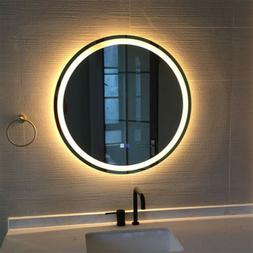 "Round Bathroom Vanity Mirror 24"" Wall Antifog Mirror with LE"