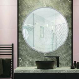 Round Frameless Beveled Edge Wall Mirror Bathroom Unframed,