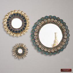Round Mirror for wall decor set 3, Sunburst Mirrors Decorati