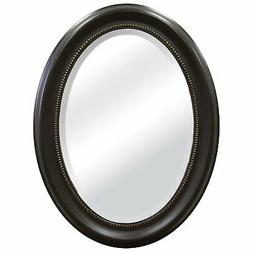 Round Oval Bathroom Wall Mirror with Beveled Edge and Bronze
