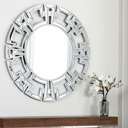 Round Wall Mirror Silver Glass Modern Large Decorative Home