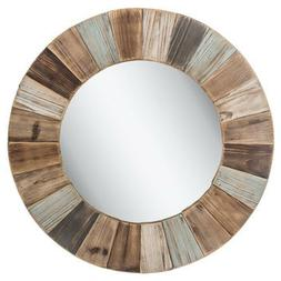 Rustic Country Large Round Wood Wall Mirror Shabby Chic Home