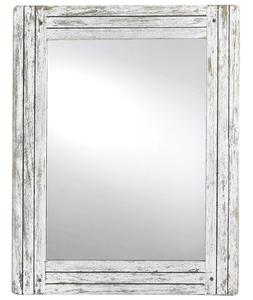 Rustic Farmhouse Vanity Wall Mirror White Wash Wood Distress