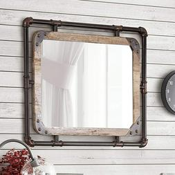 Rustic Wall Mirror Decor for Bathroom Vanity With Industrial