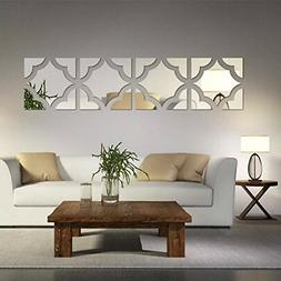 Alrens20pcs/Set Geometric Art 3D Acrylic Mirror Wall Sticker
