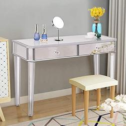 Tangkula Mirrored Makeup Table Desk Vanity for Women with 2