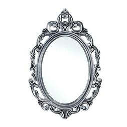 Silver Royal Crown Oval Wall Wood Mirror