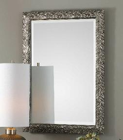 "Small Leaf Wall Mirror Antiqued Silver 35"" Acanthus Texture"