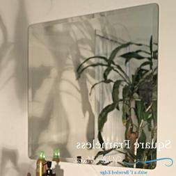 Square Frameless Beveled Edge Wall Mirror Bathroom Unframed,