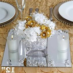 """Efavormart 12"""" Square Glass Mirror Wedding Party Table Decor"""
