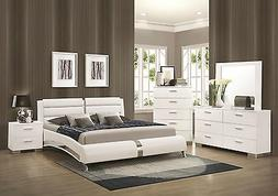 STANTON-Ultra Modern 5pcs Glossy White King Size Platform Be