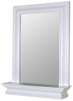 Stratford Bath Mirror in White w Shelf